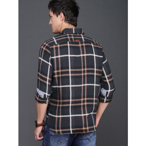 WROGN Men Black & Brown Slim Fit Checked Casual Shirt
