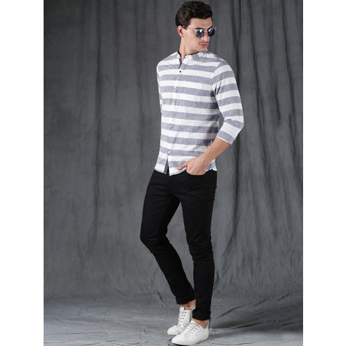 WROGN Men Blue & White Slim Fit Striped Casual Shirt
