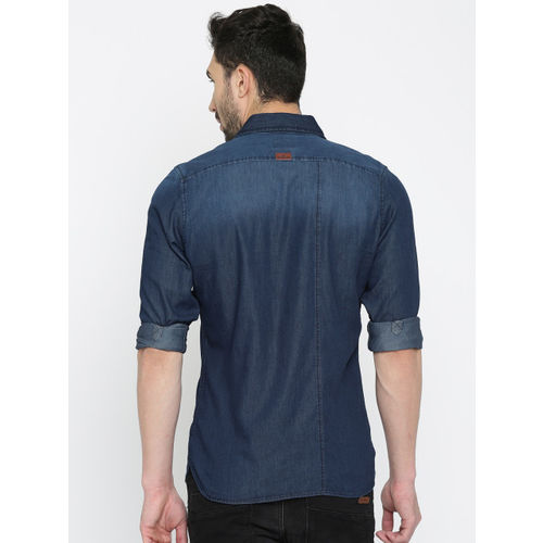 WROGN Men Blue Slim Fit Faded Casual FDenim Shirt