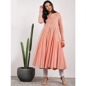 Sangria Women Pink Woven Design Anarkali Kurta