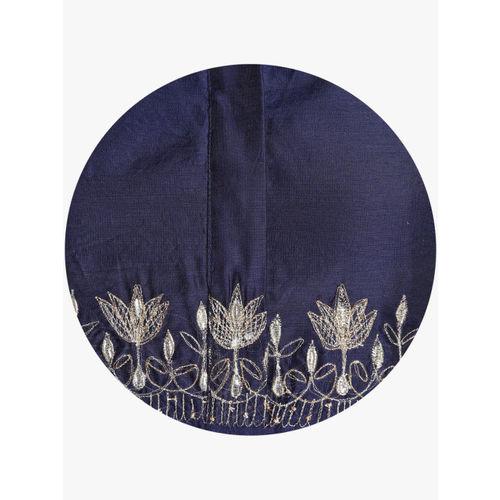Sangria Women Navy Blue Embroidered A-Line Kurta