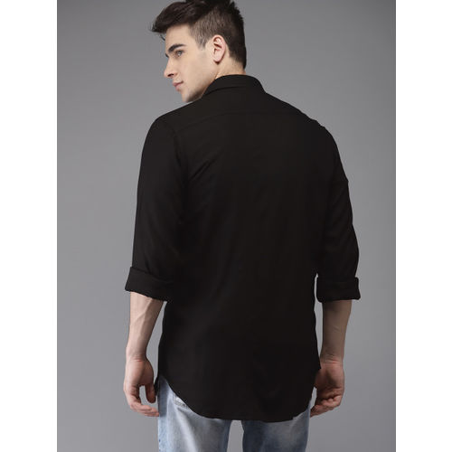 Moda Rapido Men Black Regular Fit Solid Casual Shirt