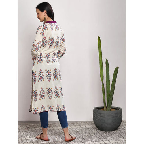 Sangria Women Off-White Printed Straight Kurta