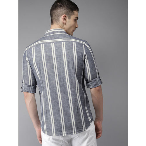 Moda Rapido Men Navy Blue & Off-White Slim Fit Striped Casual Shirt