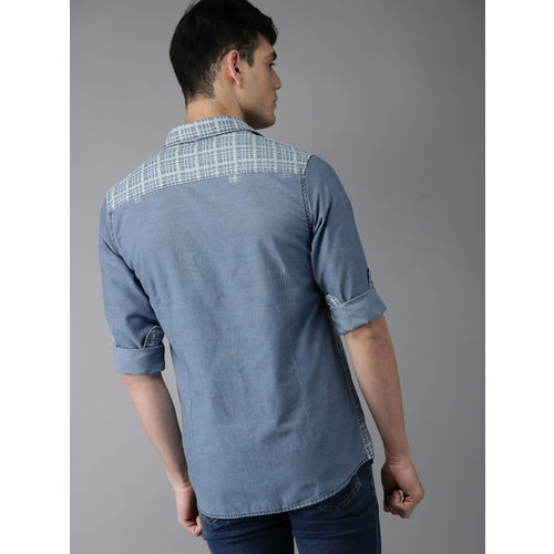 Moda Rapido Blue Checked Chambray Shirt