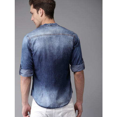 Moda Rapido Men Blue Regular Fit Faded Denim Casual Shirt