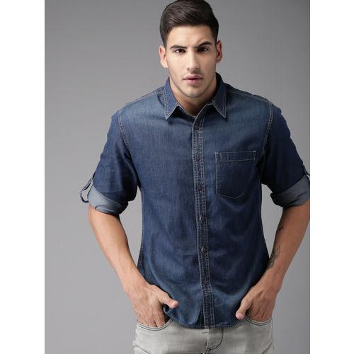 Moda Rapido Men Blue Regular Fit Faded Casual Shirt