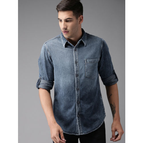 Moda Rapido Men Blue Regular Fit Faded Casual Denim Shirt