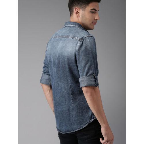 Moda Rapido Men Blue Regular Fit Faded Casual Denim Shirt