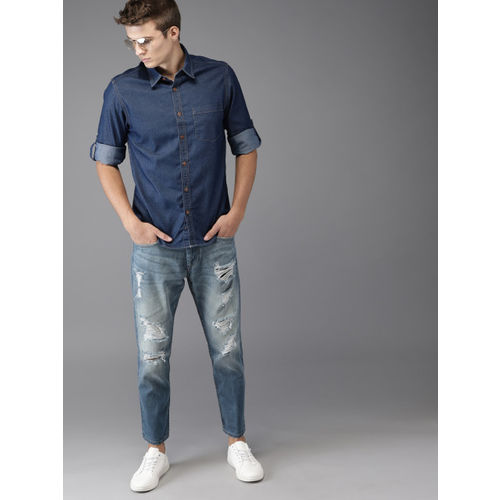 Moda Rapido Men Blue Regular Fit Solid Denim Casual Shirt