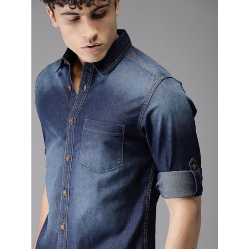 Moda Rapido Men Blue Regular Fit Faded Casual Shirt