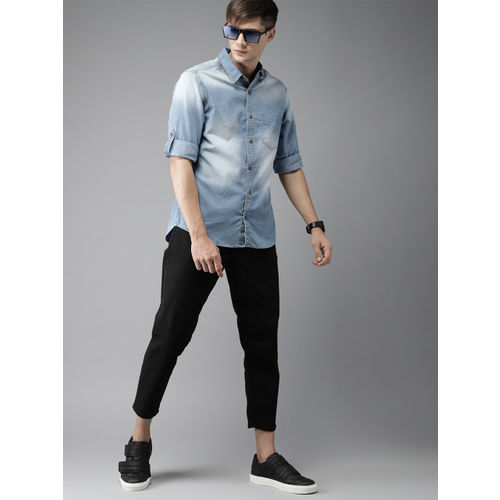 Moda Rapido Blue Regular Fit Faded Denim Casual Shirt