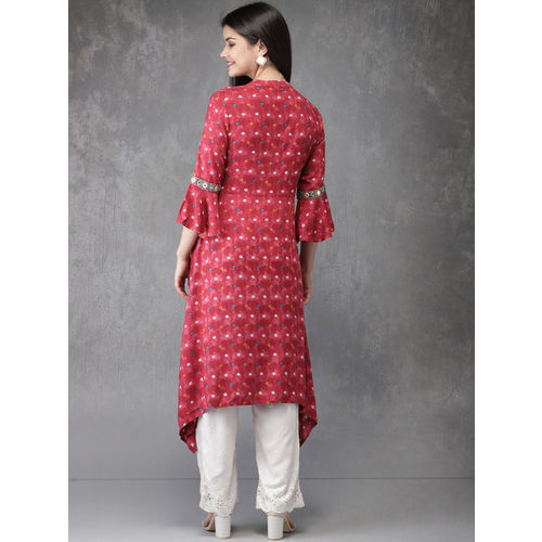 Anouk Red Cotton Printed A-Line Kurta