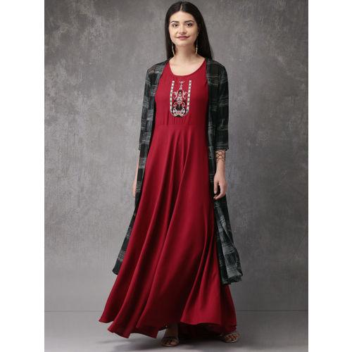 Anouk Women Red & Black Printed A-Line Kurta