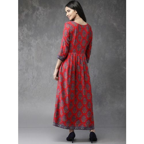 Anouk Women Red Printed A-Line Fusion Kurta