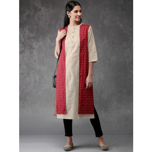 Anouk Women Beige & Red Printed Straight Kurta