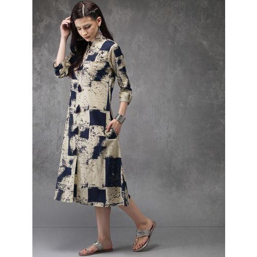 Anouk Women Beige & Navy Blue Printed Straight Kurta