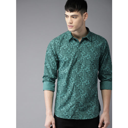 Moda Rapido Men Green Regular Fit Printed Casual Shirt