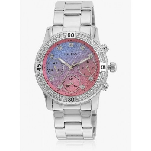 Guess Ladies Sport W0774l1 Silver/Pink Analog & Digital Watch