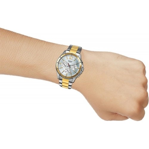 Casio A954 Silver & Golden Men's Stainless Steel Analog Watch