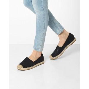 Jove Espadrille Black Slip On Loafers Shoes