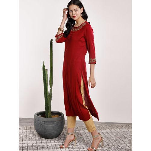 Sangria Women Maroon Embroidered Straight Kurta