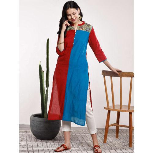 Sangria Women Maroon & Blue Colourblocked Straight Kurta