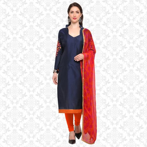 Divastri Poly Chanderi Solid Salwar Suit Material(Semi Stitched)