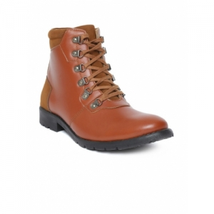 People Men Brown Solid Synthetic Leather Mid-Top Flat Boots
