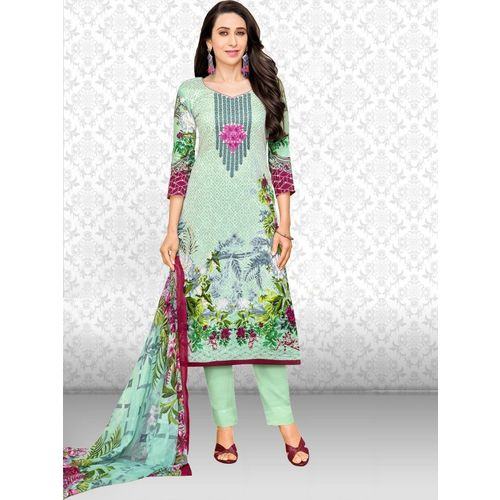 Divastri Polycotton Printed, Embroidered, Floral Print Salwar Suit Material(Unstitched)
