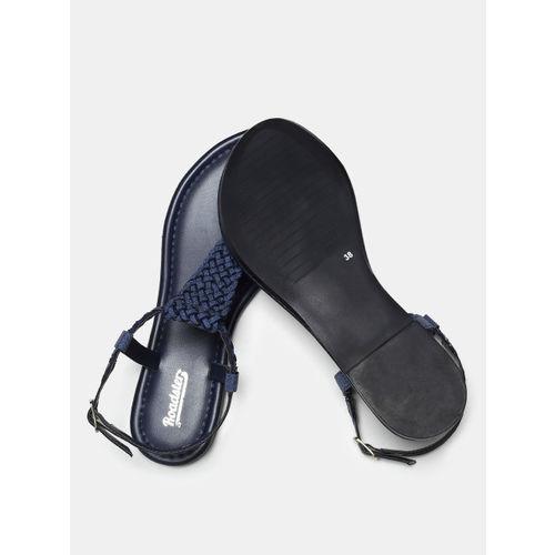 Roadster Women Navy Blue Solid Open Toe Flats