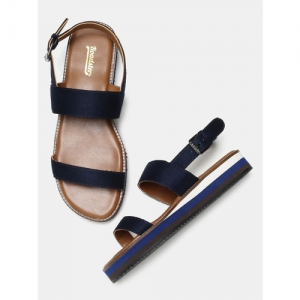 Roadster Navy Blue Solid Open Toe Flats