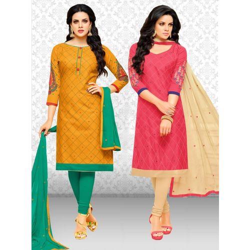 Divastri Cotton Blend Embroidered Salwar Suit Material(Unstitched)