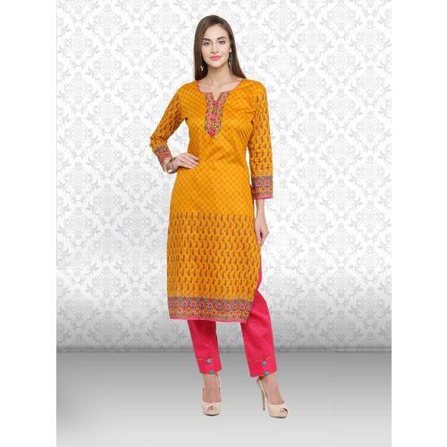 Divastri Cotton Blend Printed, Solid Kurta & Churidar Material(Unstitched)