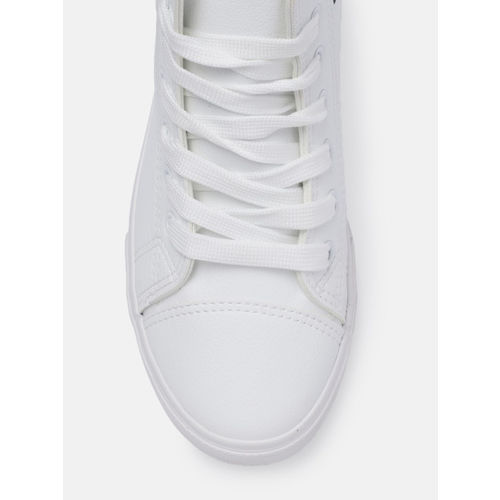 Roadster Women White Solid Synthetic Mid-Top Sneakers