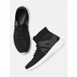 Roadster Women Black Woven Design Synthetic Mid-Top Sneakers