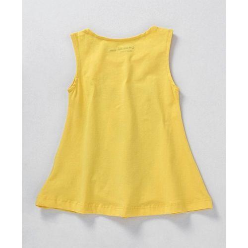 Doreme Sleeveless Frock Dog Print - Yellow