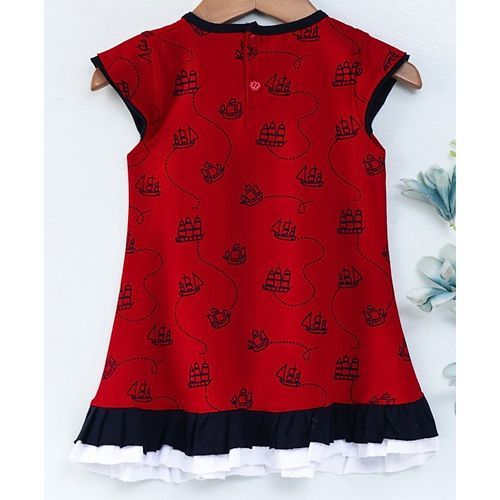 Dew Drops Short Sleeves Frock Ship Print - Red