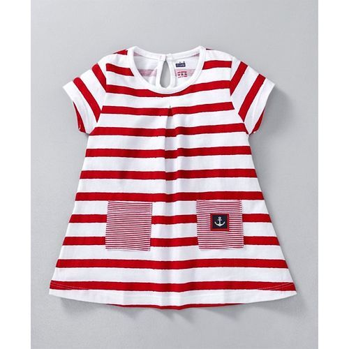 Simply Half Sleeves Striped Frock With Pockets - White Red