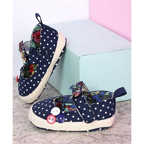 Kidlingss Bow & Buttons Booties - Dark Blue