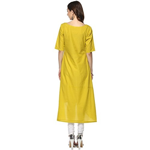 YASH GALLERY Green Cotton Embroidered High-Low Kurta