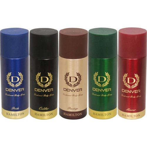 Denver Prestige,Hamilton,Honour,Caliber & Pride Deodorant Spray - For Men(825 ml, Pack of 5)