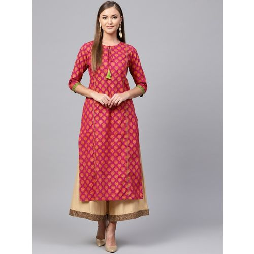 Indo Era Women Printed Straight Kurta(Pink)