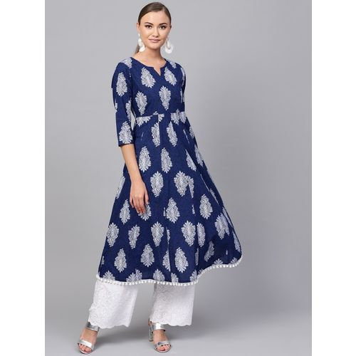Indo Era Women Printed A-line Kurta(Dark Blue)