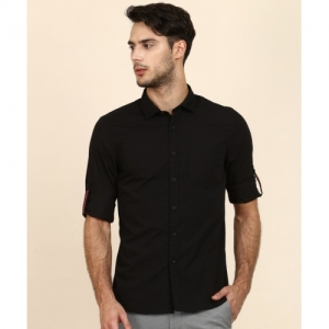 Lee Black Cotton Solid Slim-Fit Casual Shirt