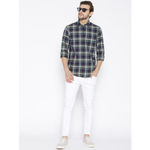 Wills Lifestyle Men Navy Blue & Green Slim Fit Checked Casual Shirt
