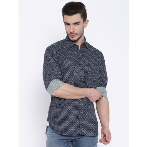 Wills Lifestyle Sport Navy Printed Slim Casual Shirt