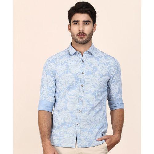 Flying Machine Men Printed Casual Blue Shirt