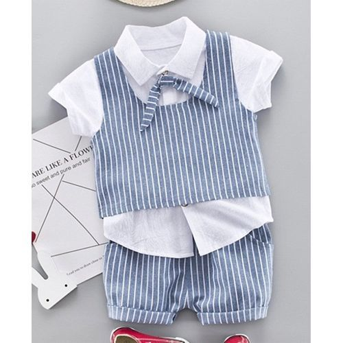 Pre Order - Awabox Short Sleeves Tee With Striped Waistcoat & Shorts Set - Blue