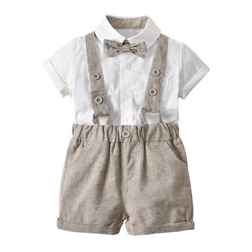 Pre Order - Awabox Solid Half Sleeves Shirt & Suspender Shorts Set With Bow - Beige